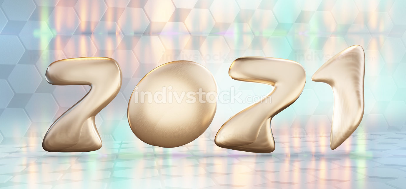 2021 golden symbol and creative lights structure background 3d-i