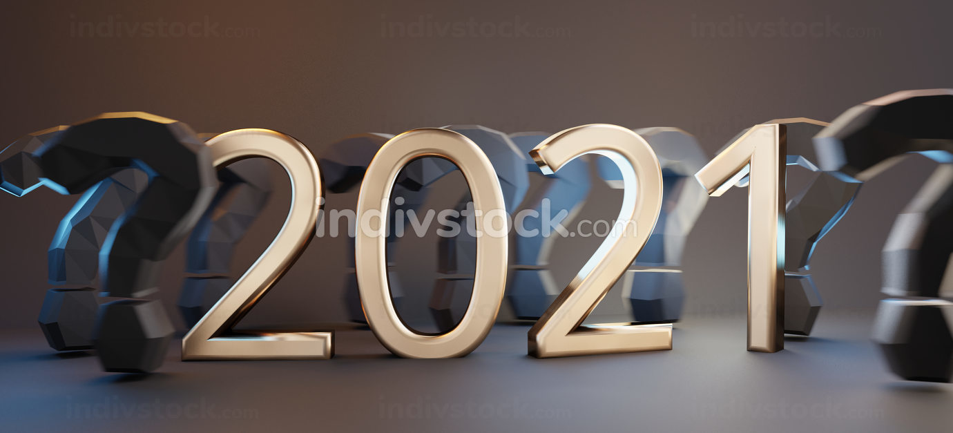 2021 golden text with question marks symbol 3d-illustration