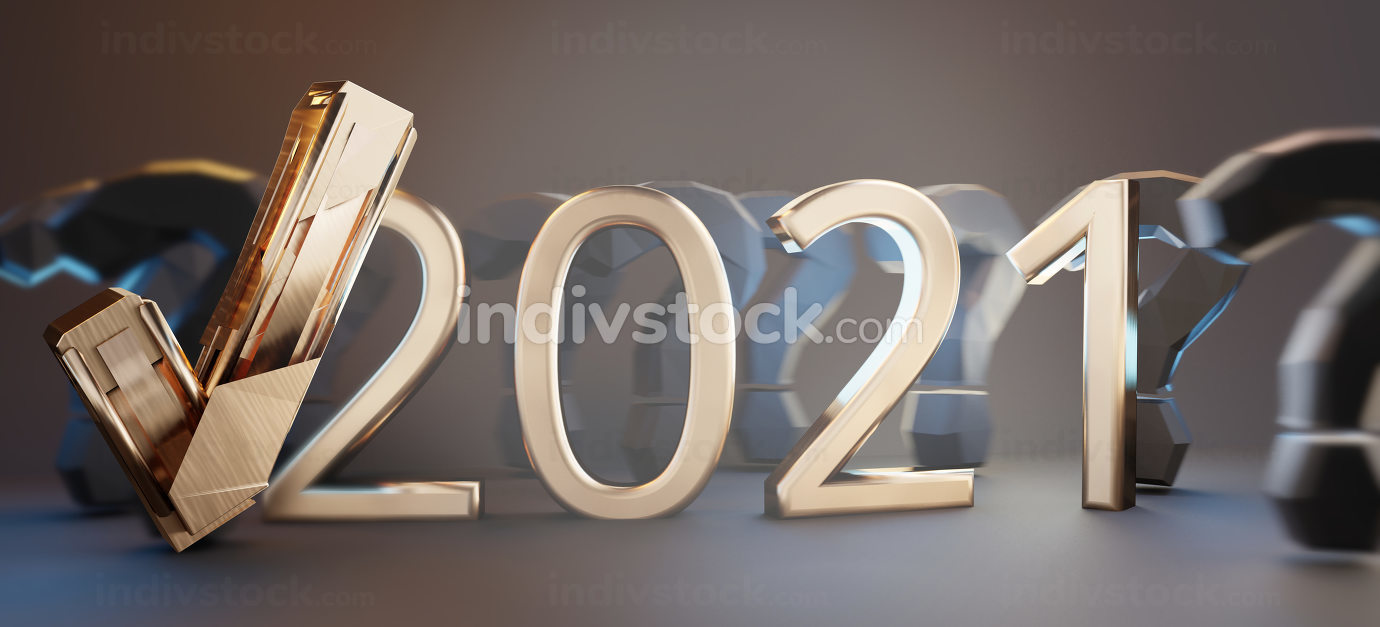 2021 golden thin text letters with question marks and tick check symbol 3d-illustration