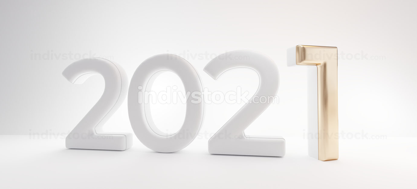 2021 white and golden thin letters 3d-illustration design