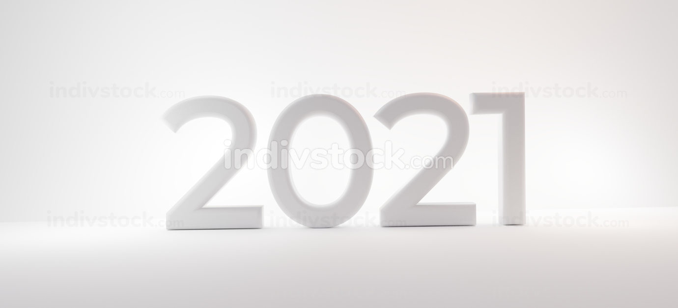 2021 white letters 3d-illustration design