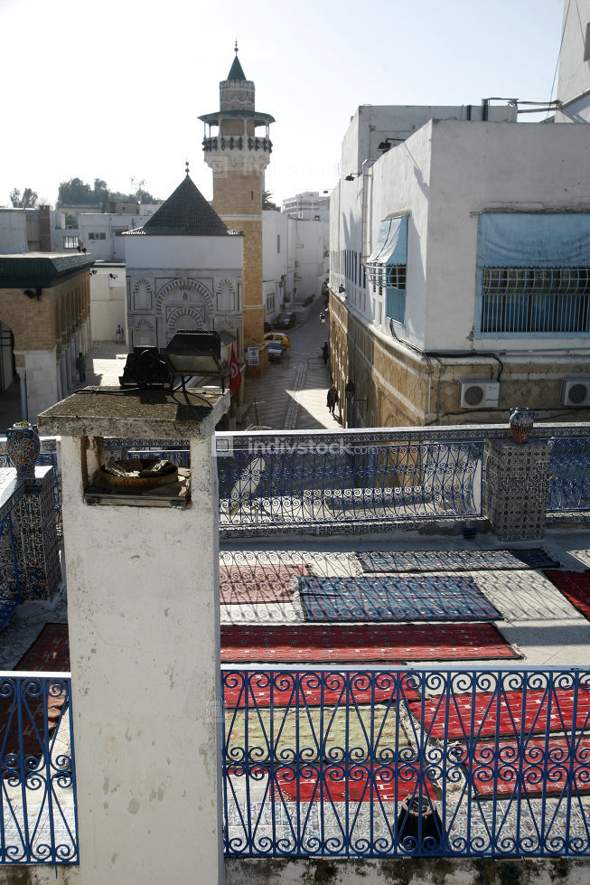 a Carpet Shop and Production in front of the Ez Zitouna or Al Zaytuna Mosque in the Medina,Tunisia, Sidi Bou Sair, March, 2009