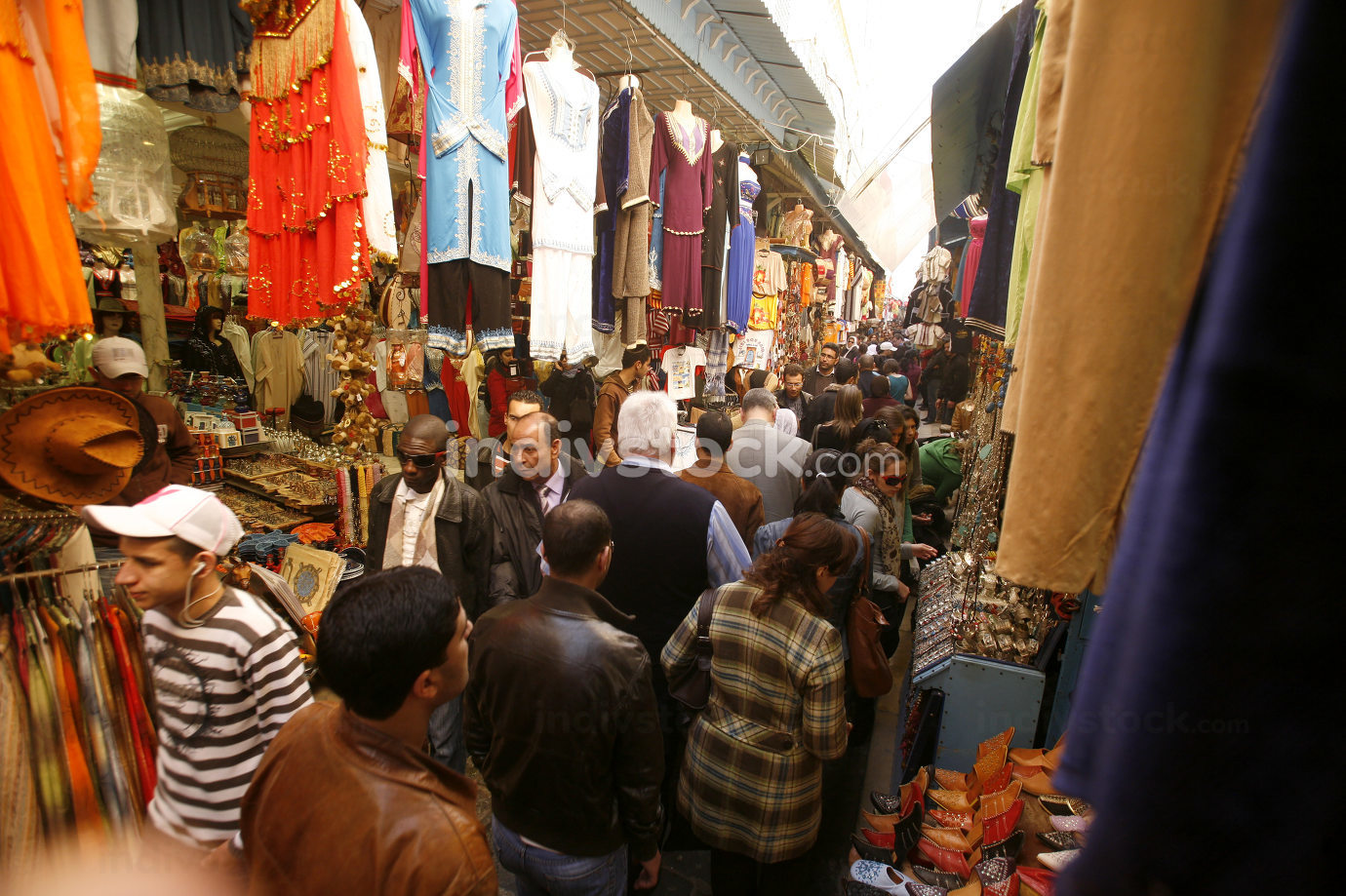 a Marketstreet in the Souq, Market or bazaar in the Old City of Tunis in north of Tunisia in North Africa,  Tunisia, Sidi Bou Sair, March, 2009