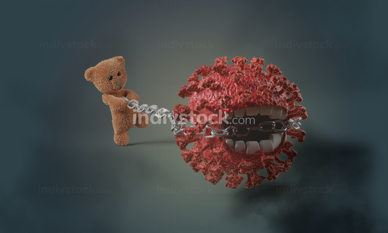 abstract concept of Corona Virus held in place by teddy bear wit