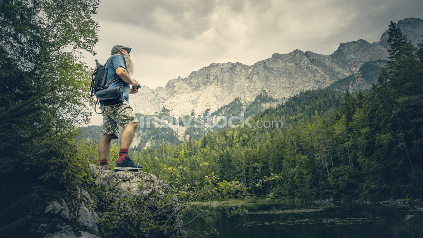 An image of a man at the german alps