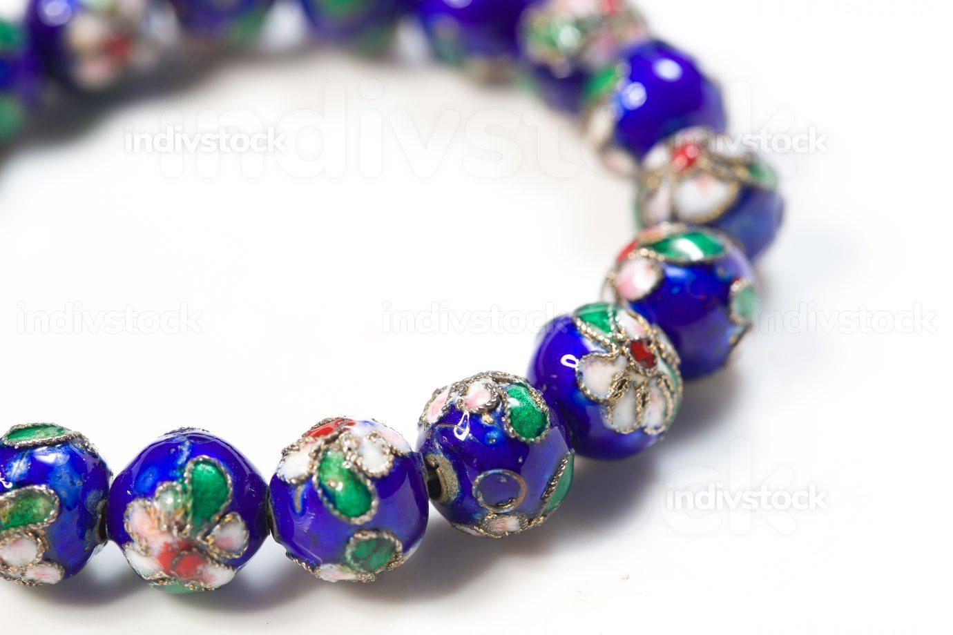 blue cloisonne bracelet in black background