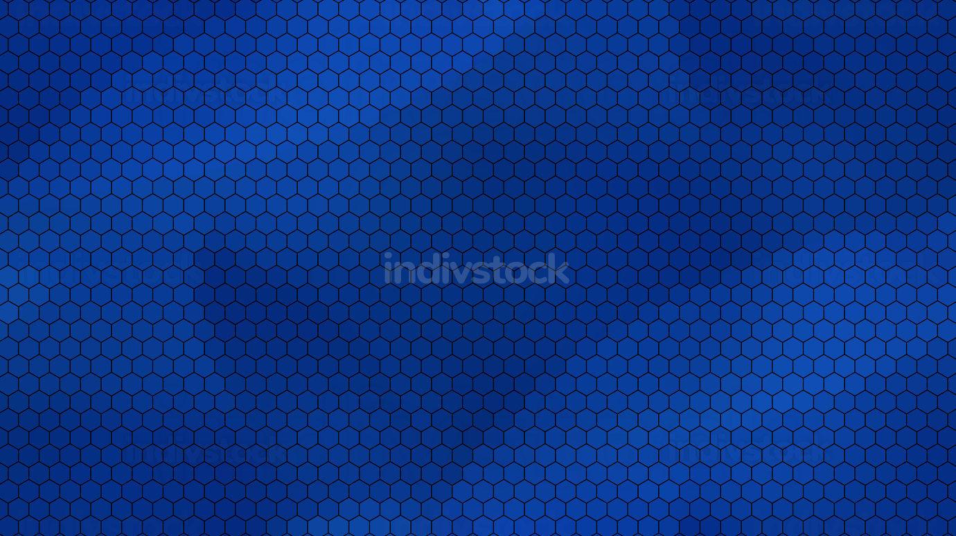 blue colored background and black hexagonal grid design 3d-illus