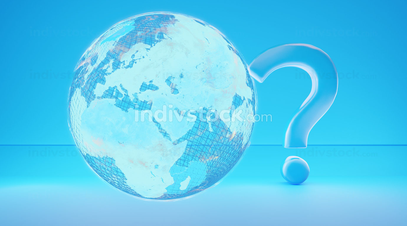 blue creative design with question mark and blue earth 3d-illustration. elements of this image furnished by NASA