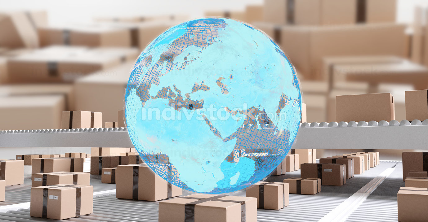 blue earth and packages on conveyor belts 3d-illustration. elements of this image furnished by NASA