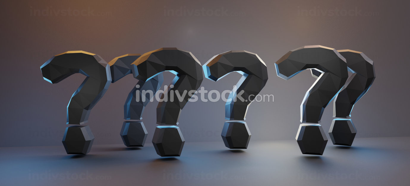 bold letters dark question marks 3d-illustration