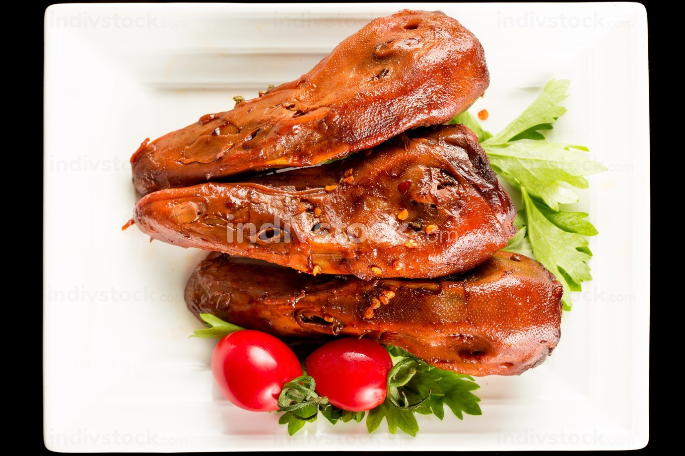 Braised duck heads, Chinese cuisine.