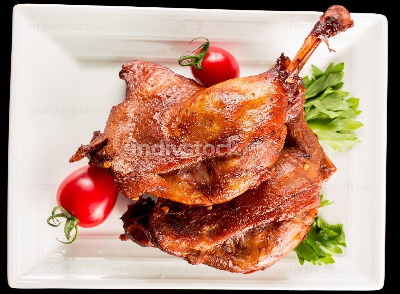 Braised duck legs, Chinese cuisine.