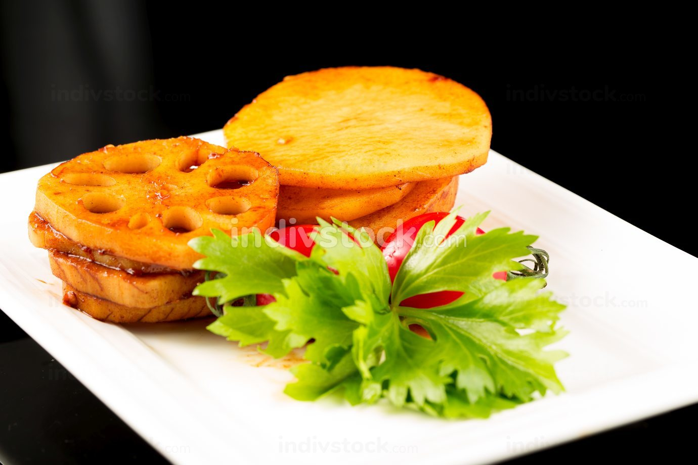 Braised lotus root and potatos, Chinese cuisine.