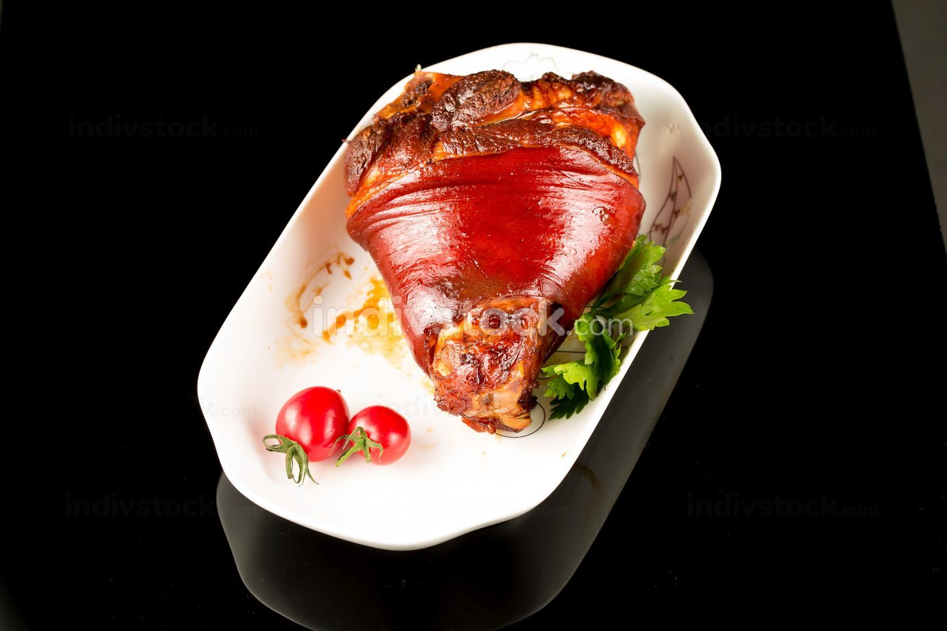 Braised pig elbow, Chinese cuisine.