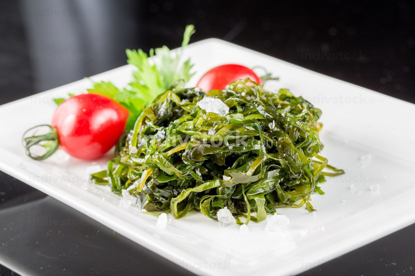 Braised Salad herb and sea cabbage Chinese cuisine.