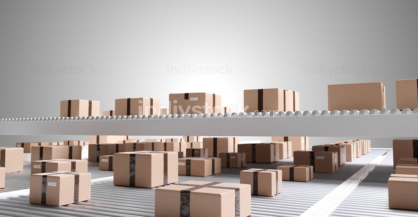 brown parcel packages on conveyor belt background 3d-illustratio