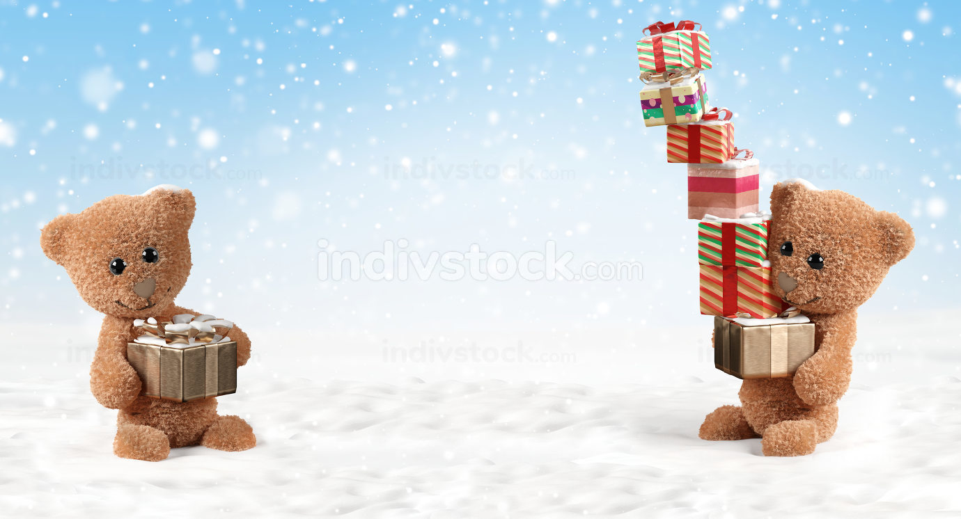 Christmas gifts teddy bear 3d-illustration