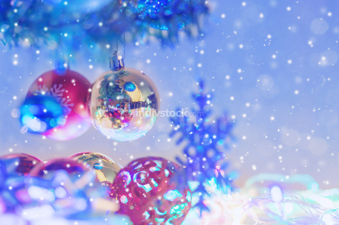 Close up christmas balls and snowflake hanging on the branch of