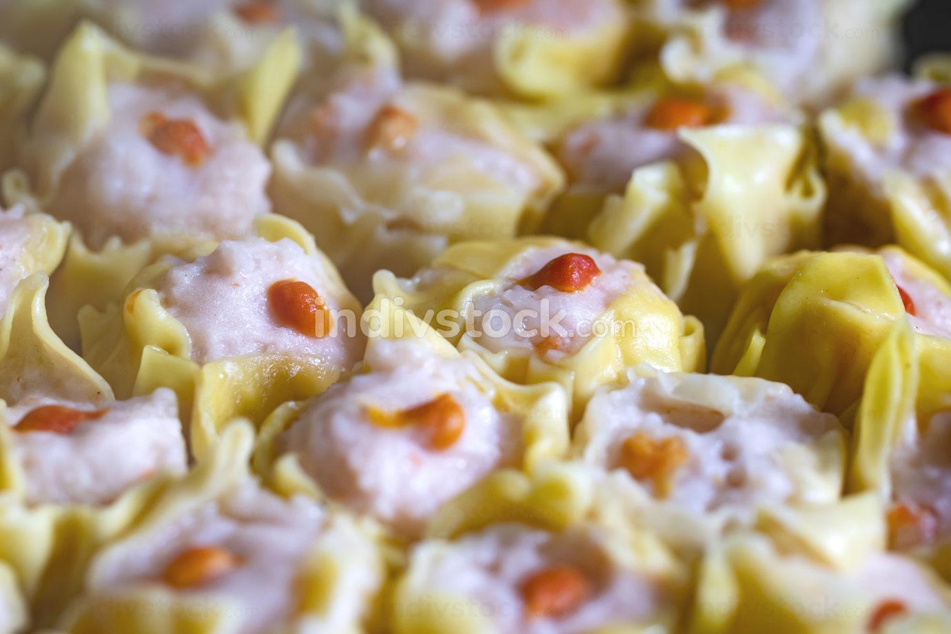 Close-up Steamed Shrimp Dumpling