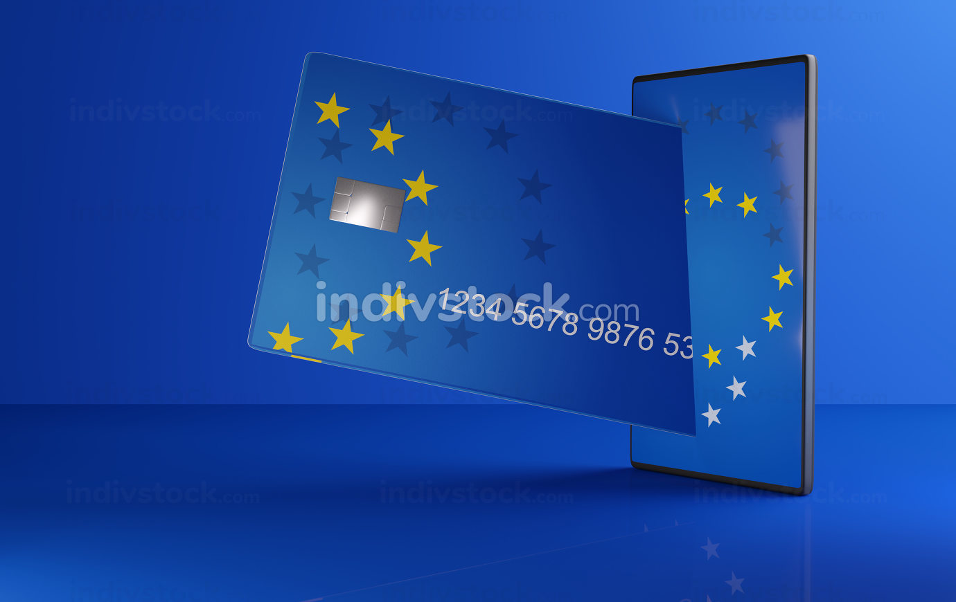 concept of Europe on credit card with mobile phone 3d-illustration