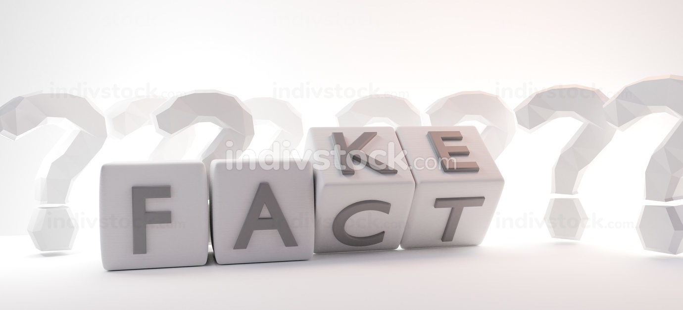 concept of fact or fake. dice with bold letters creative design