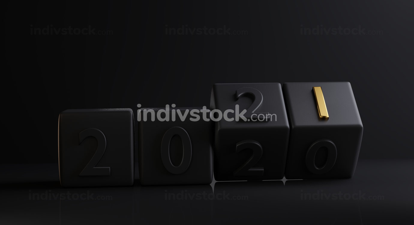 concept of new year change to 2021. dice dark design golden bold letter one. 3d-illustration
