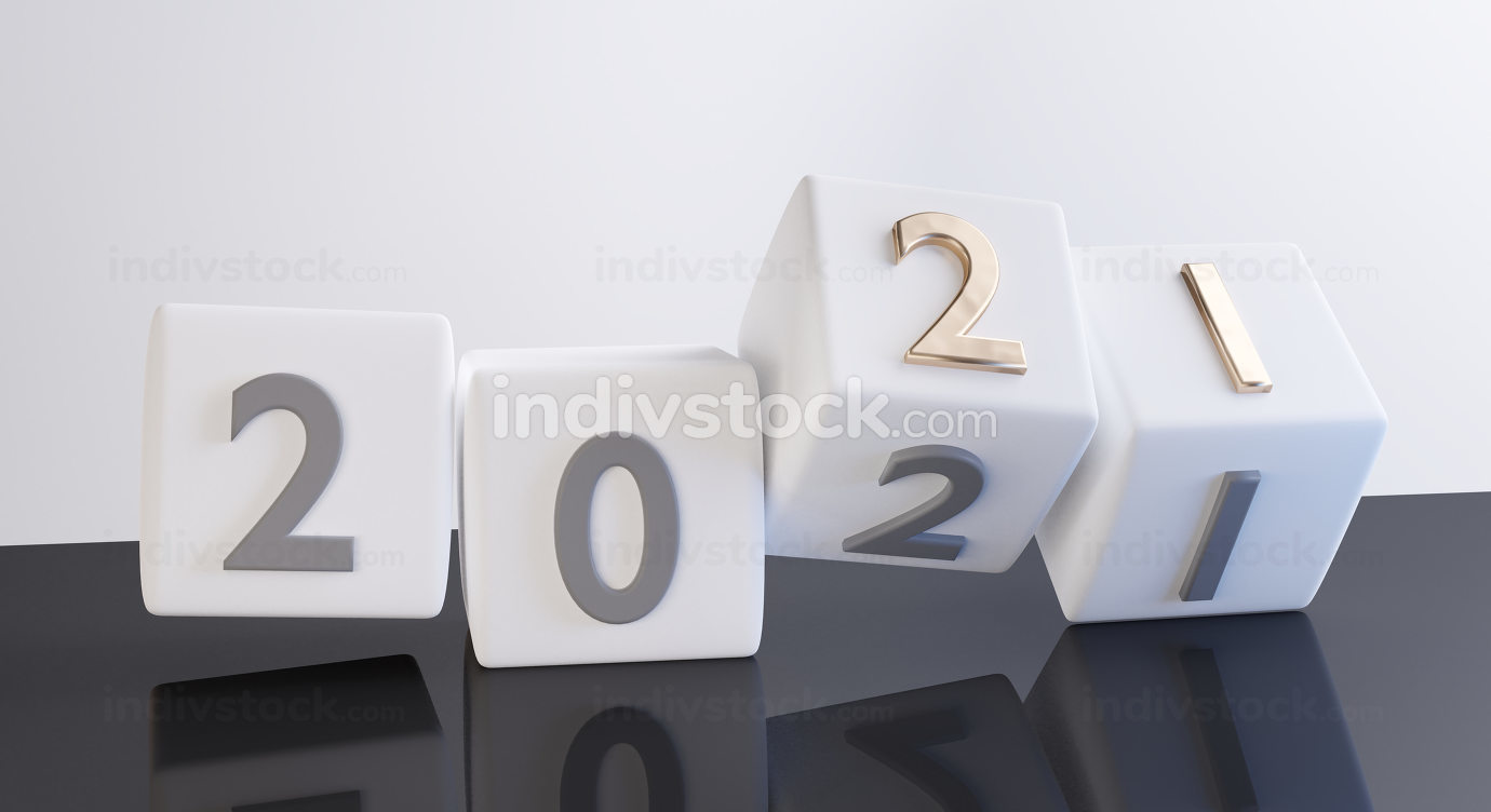 concept of new year change to 2021. dice design golden bold lett