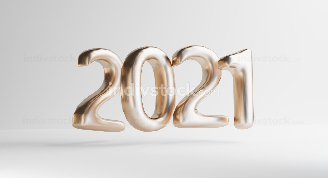 concept of the year 2021. bold letters golden design 3d-illustra