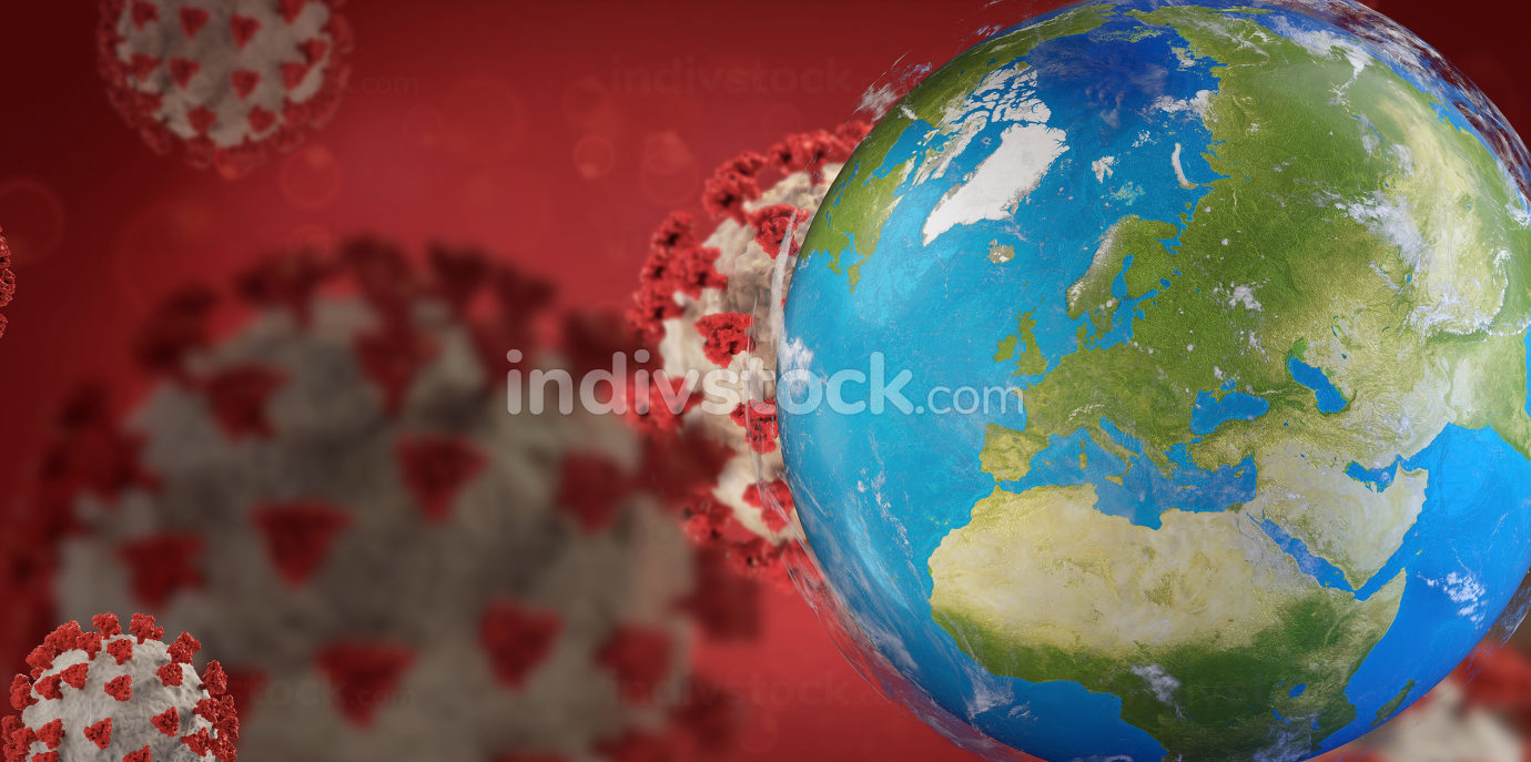 Corona Virus background covid-19 and planet earth focus on Europe 3d-illustration. elements of this image furnished by NASA