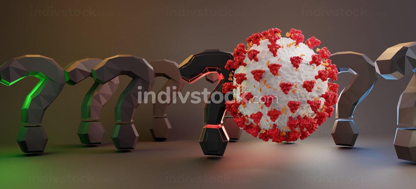 Corona Virus question marks symbol 3d-illustration