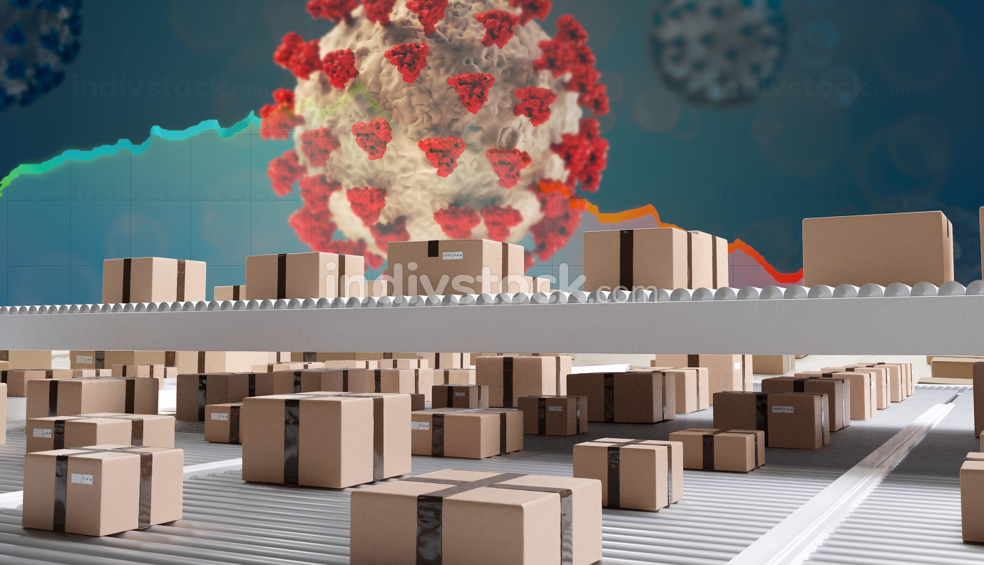 Covid-19 brown parcel packages on conveyor belt background 3d-il