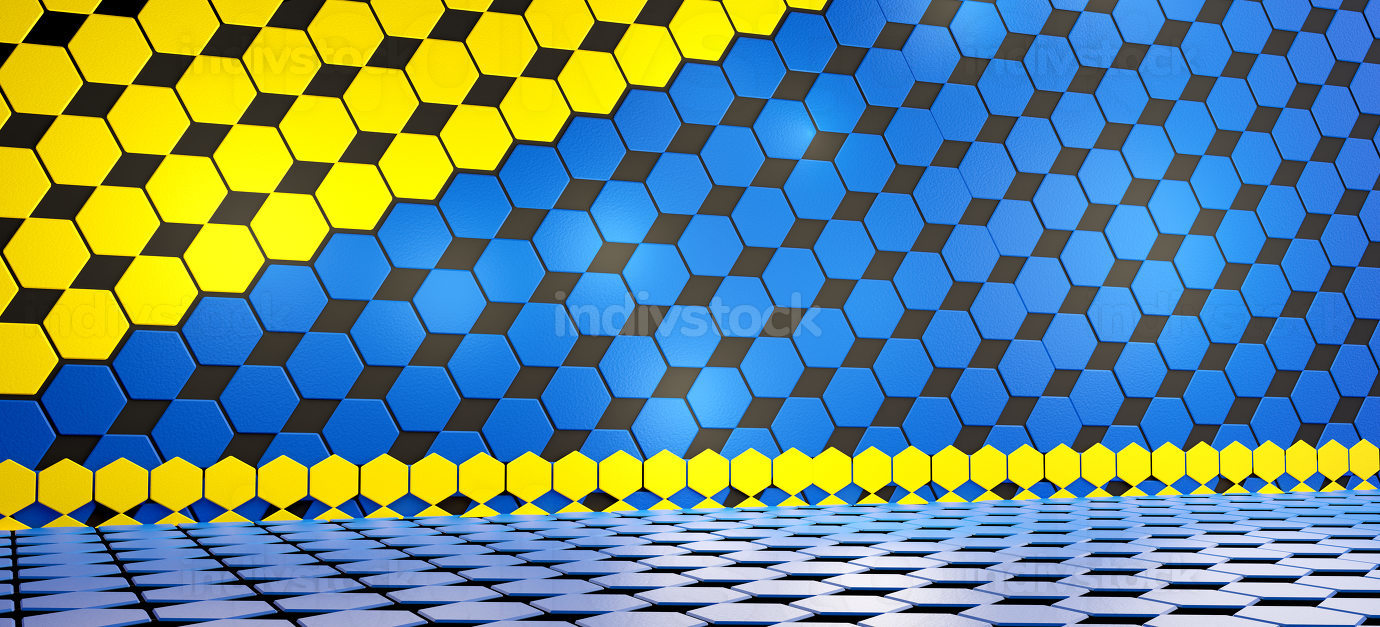 creative concept of hexagonal background in the colors of the Eu