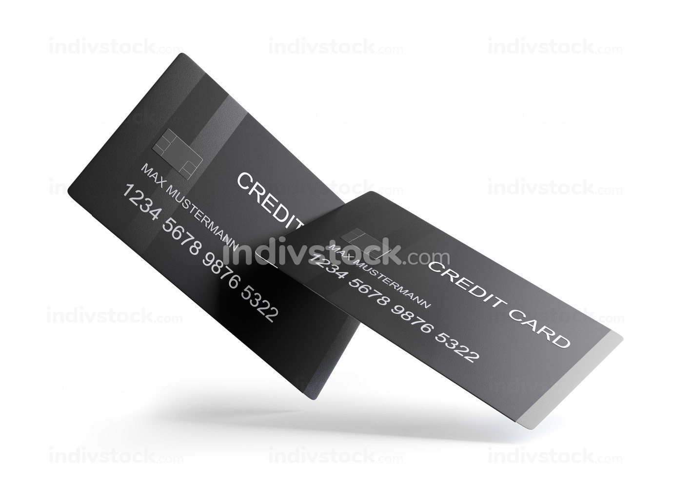 credit card 3d-illustration isolated on white