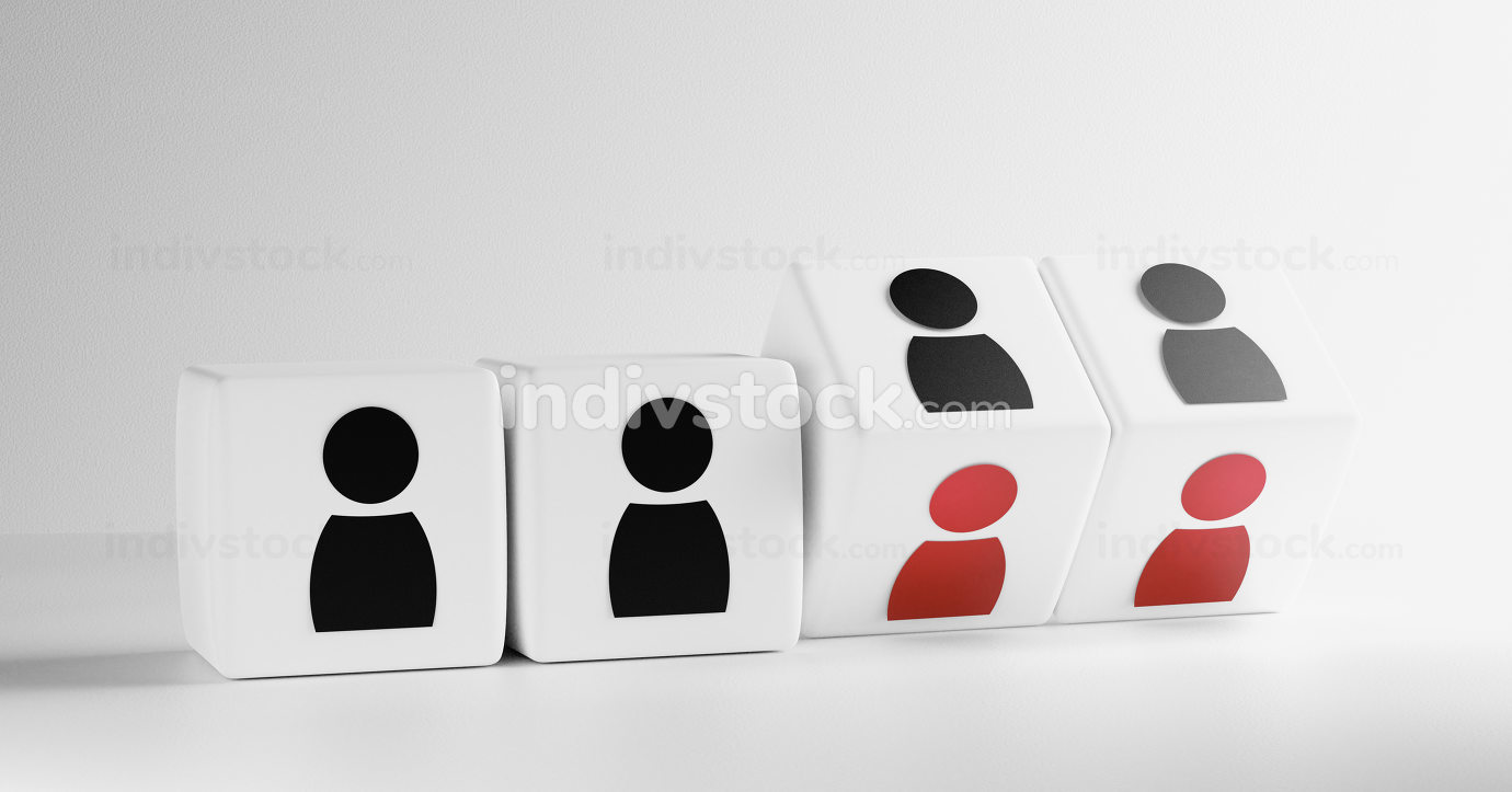 Cube with figures of people 3d-illustration