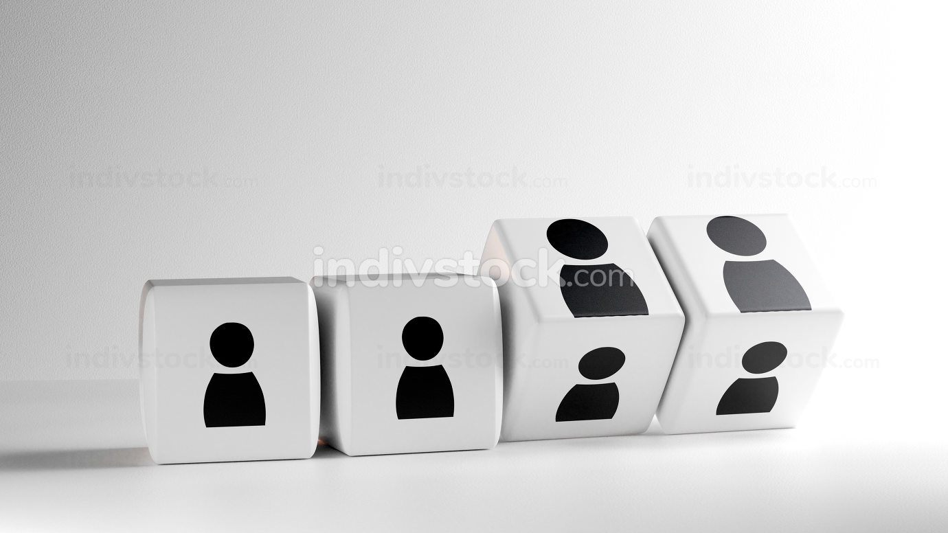 cubes with figures of people 3d-illustration