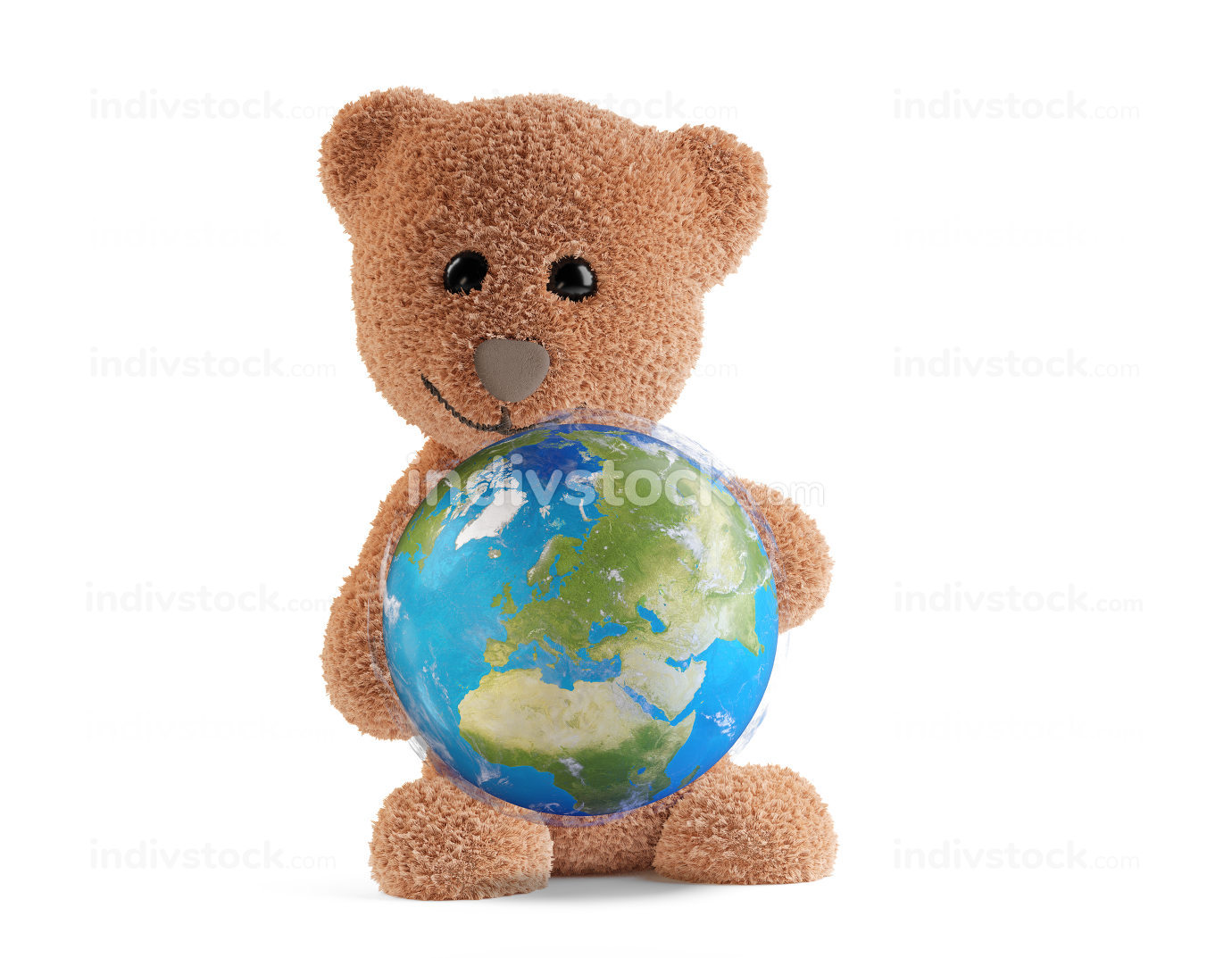 cute fluffy brown teddy bear with planet earth globe focus on Europe. 3d-illustration. elements of this image furnished by NASA