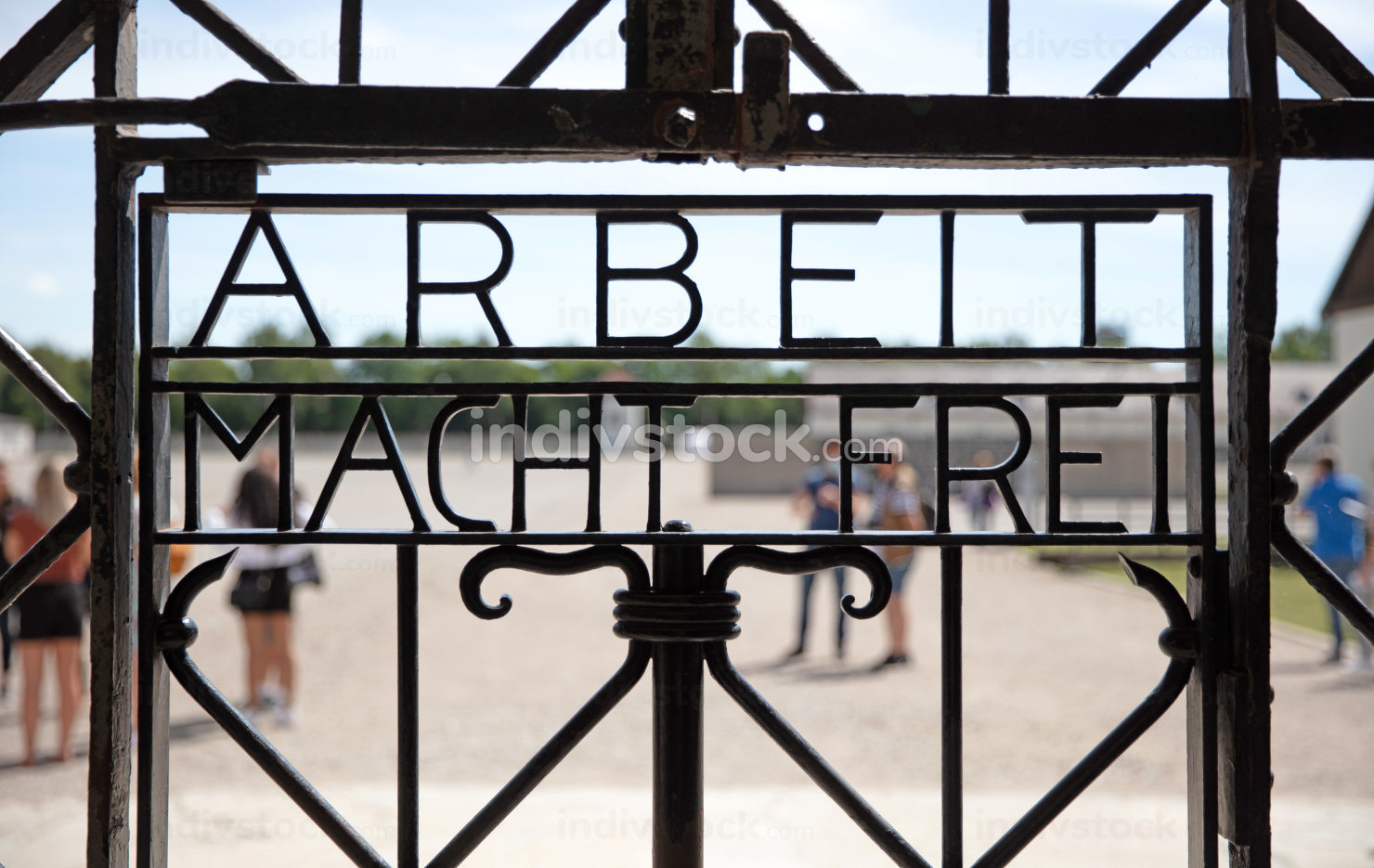 Dachau, Germany on july 13, 2020: Dachau concentration camp entrance gate, the entrance to the first Nazi concentration camp