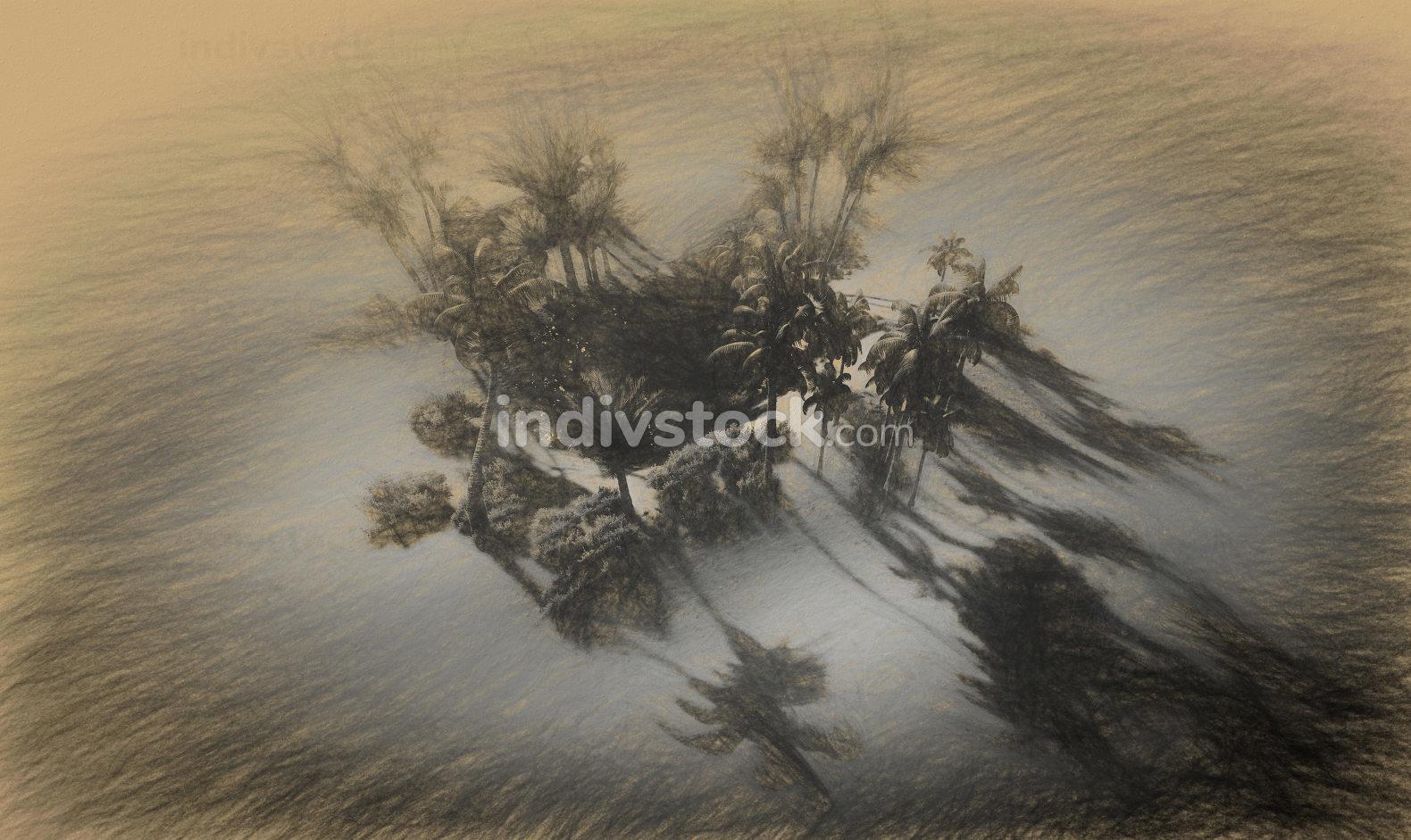 Digital 3d illustration of Oasis in the desert