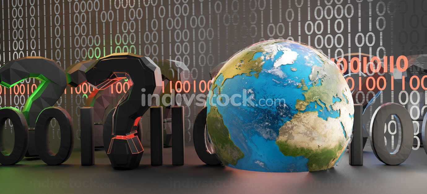 digital binary code concept with question marks nd planet earth.