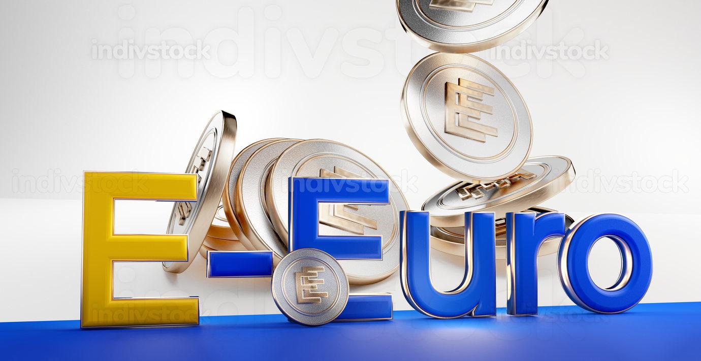 E-Euro concept of european digital currency