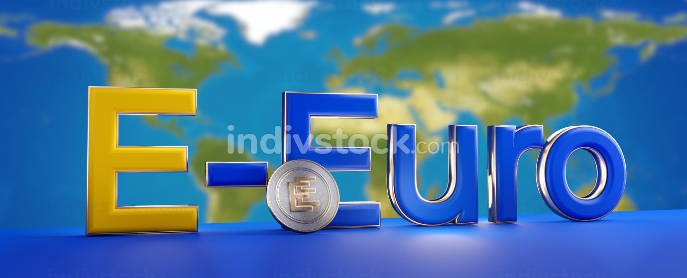 E-Euro concept of european digital currency. elements of this image furnished by NASA