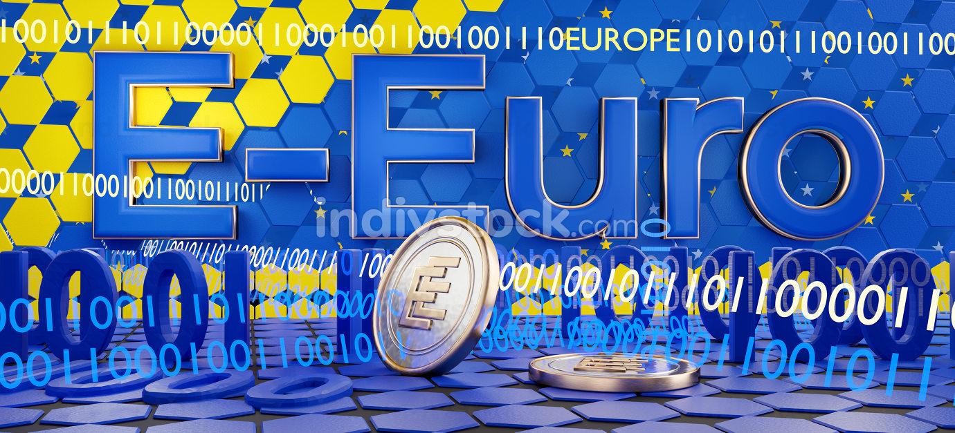 e-euro digital concept and binary code background 3d-illustratio