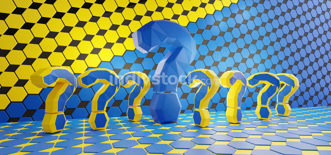 EU design. colors of the flag of Europe. question mark hexagonal grid design background 3d-illustration