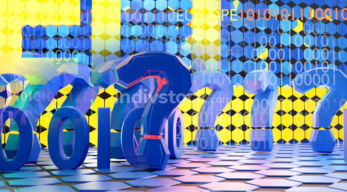 EU Europe creative digital concept and question marks design background 3d-illustration