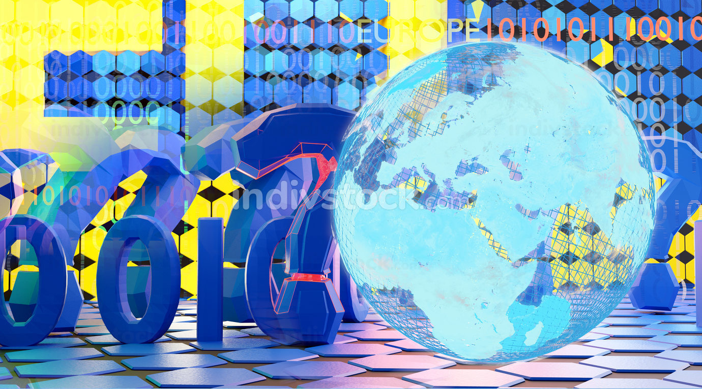 EU Europe creative digital concept and question marks design background 3d-illustration. elements of this image furnished by NASA