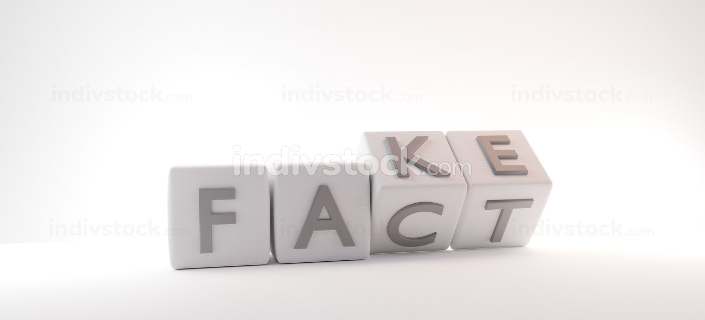 fake and fact cubes design 3d-illustration background