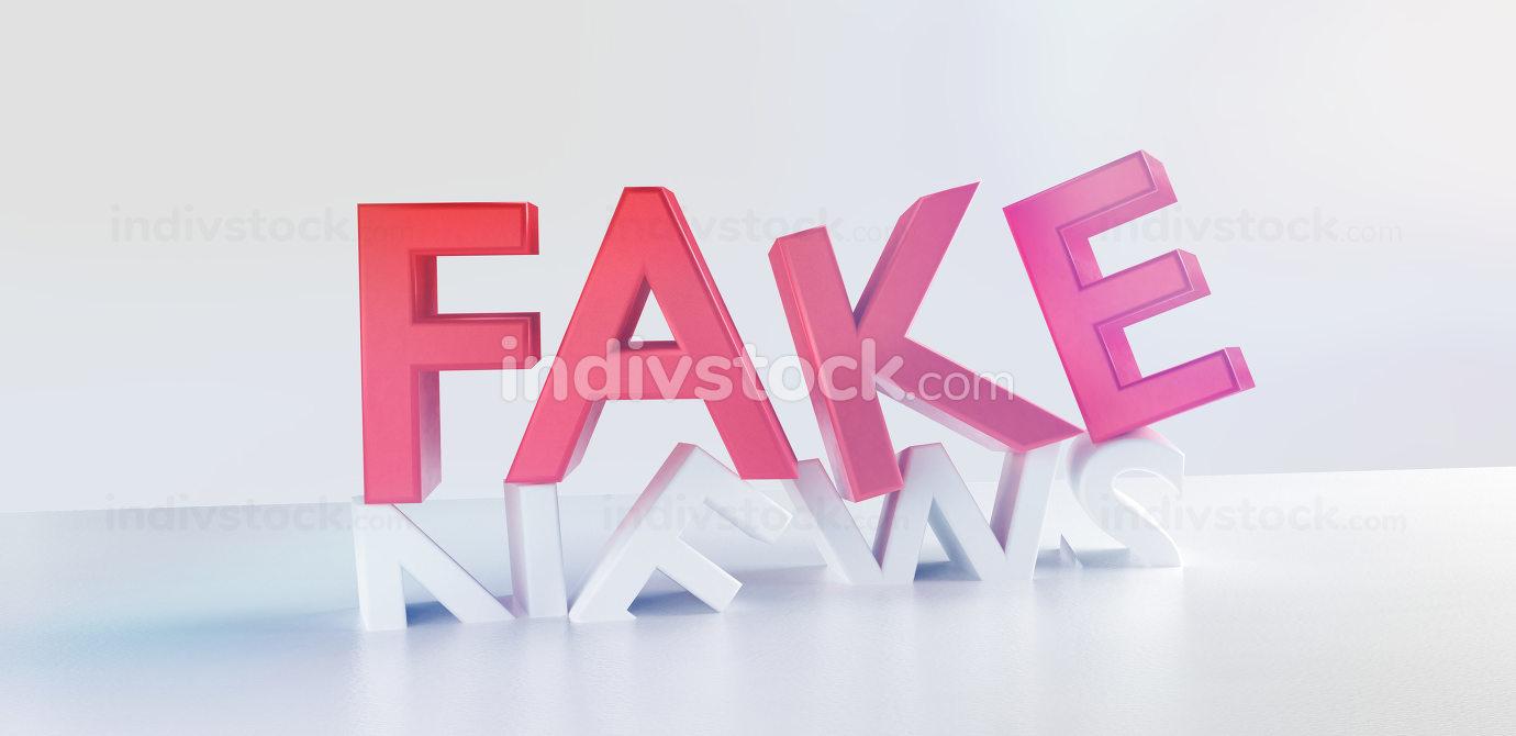 fake news bold letters 3d-illustration symbol