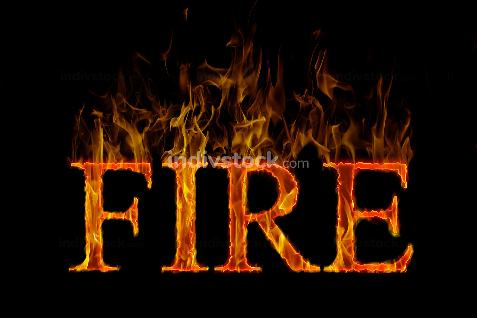 Fire lettering english burning on flame