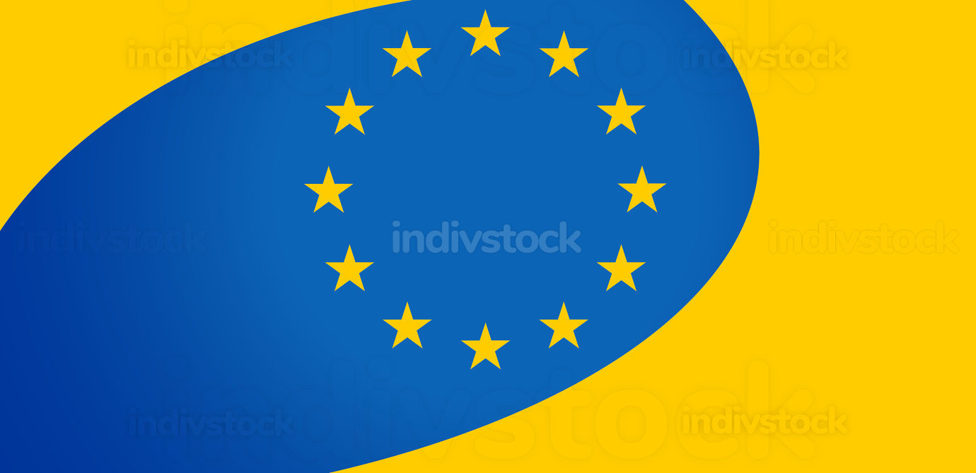 flag of Europe creative design blue yellow and stars 3d-illustration