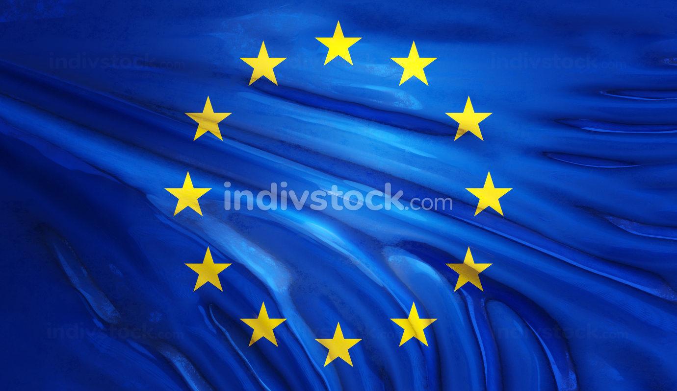 flag of europe glossy background 3d-illustration